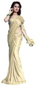 Bhuwal Fashion Beige Lycra Saree