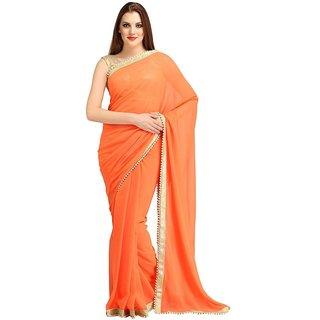 Bhuwal Designer Orange Chiffon Saree