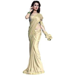 Bhuwal Fashion Beige Crepe Saree