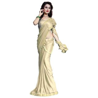 Bhuwal Fashion Beige Lycra Saree
