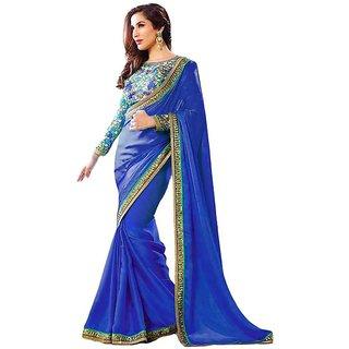Bhuwal Fashion Blue Georgette Saree