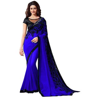 Bhuwal Fashion Blue Faux Georgette Embroidered Saree