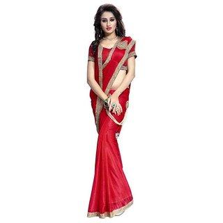Bhuwal Fashion Red Crepe Saree