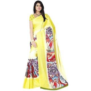 Bhuwal Fashion Yellow Crepe Saree