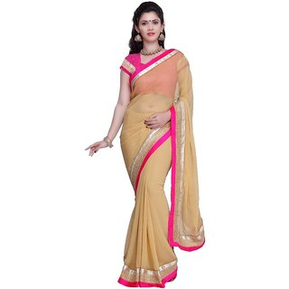 Bhuwal Fashion Beige Chiffon Saree