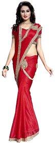 Bhuwal Fashion Red Lycra Saree