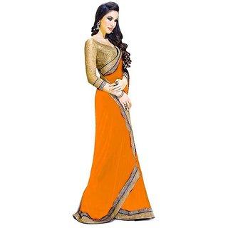 Bhuwal Fashion Orange Chiffon Saree