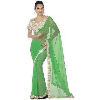 Bhuwal Fashion Green Chiffon Saree