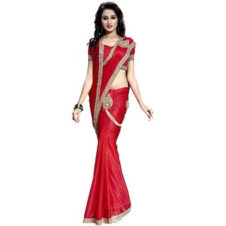 Bhuwal Fashion Red Lycra Saree