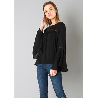 Raabta Fashion Black Cotton Bell Sleeve Top with Les Detail