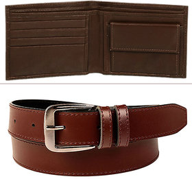 Jack Klein Combo of Brown Leatherite Belt And Brown Wallet For Men