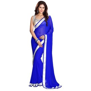 Bhuwal Fashion Blue Chiffon Saree