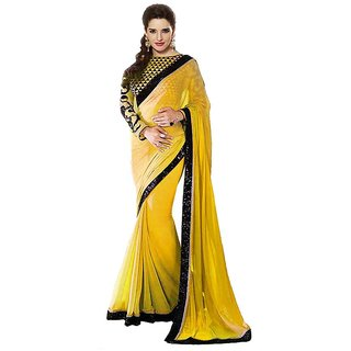 Bhuwal Fashion Yellow Chiffon Saree