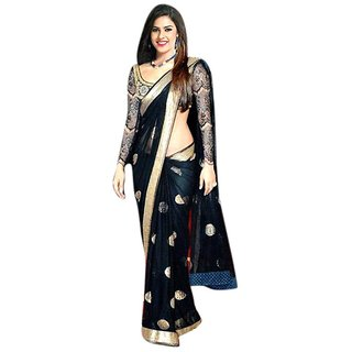Bhuwal Fashion Black Net Saree