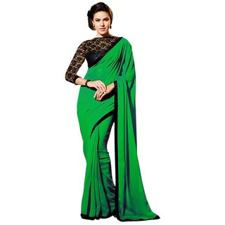 bhuwal nx DESIGNER FANCY BORDER Chiffon GREEN SAREES