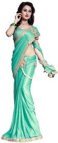 Bhuwal Fashion Turquoise Lycra Saree