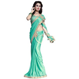 Bhuwal Fashion Turquoise Lycra Saree