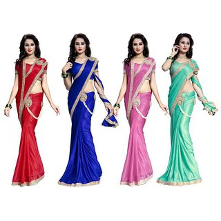 Bhuwal fashion Multicoloured Lycra Saree Combos