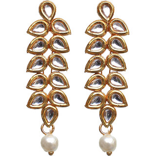 Lucky Jewellery Designer White Color Gold Plating Kundan Earring For Girls  Women