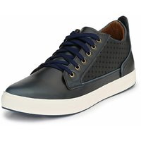 Mactree Men's Blue Artificial Leather Mid Top Casual Sn