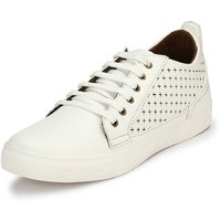 Mactree Men's White Artificial Leather Mid Top Casual S