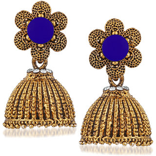 JewelMaze Blue Beads And Stone Gold Plated Jhumki Earrings