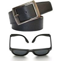 Austin Belt  folding Black Wayfarer Sunglass combo