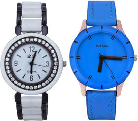 Combo of Blue Round Dial Strap Analog Wrist Watch And Metal Strap Watch