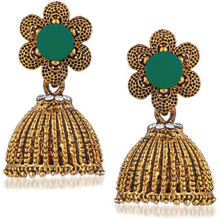 JewelMaze Green Beads And Stone Gold Plated Jhumki Earrings