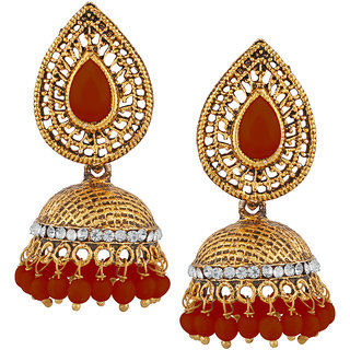 JewelMaze Maroon Beads And Stone Gold Plated Jhumki Earrings