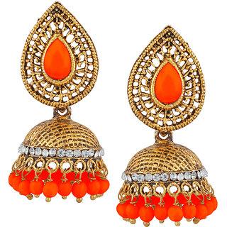 JewelMaze Orange Beads And Stone Gold Plated Jhumki Earrings