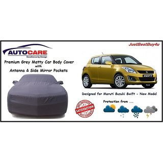 De AutoCare Grey Matty Car Body Cover with Mirror Pocket For Maruti Suzuki New Swift