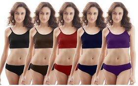 Ladies Multicolor Plain Basic Panties (Set of 5 Panties.)