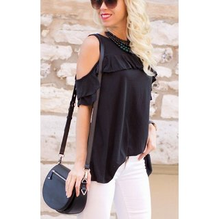 8f42592fd0b2e Buy Raabta Fashion Black Plain Round Neck Cold Shoulder Top Online ...
