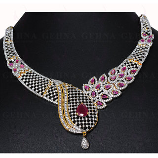 a459d66ffdd WEDDING JEWELRY - RUBY COLOR STONE C.Z STUDDED BEAUTIFUL NECKLACE SET