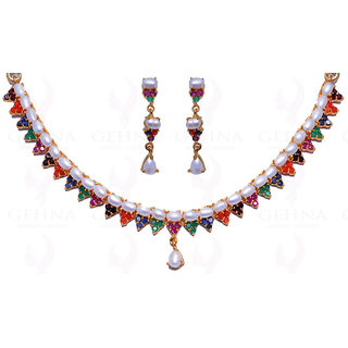PEARL  MULTICOLOR STONE STUDDED CHOKER NECKLACE  EARRINGS