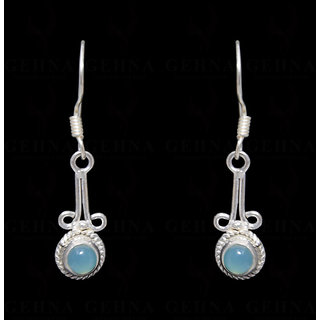 Chalcedony Gemstone Earring In .925 Silver Overlay