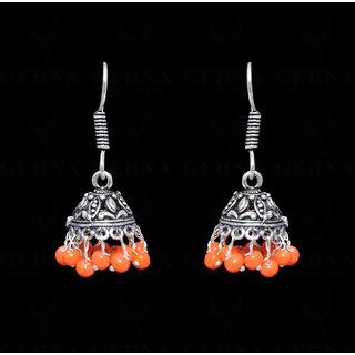 Carnelian Stone Jhumka Style Earring In .925 Silver Overlay