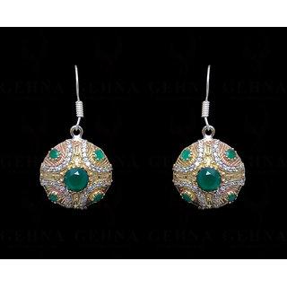 Emerald & White Topaz Gemstone Studded Earring in Silver