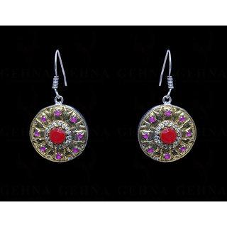 Ruby, Emerald, Amethyst & Topaz Gemstone Studded Earring In Silver