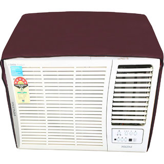 Glassiano Mehroon Colored waterproof and dustproof window ac cover for Voltas 18 HY Hot and Cold Y Series AC 1.5 Ton