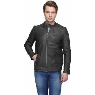 ShopDoze Mens Black Solid Faux Leather Jacket