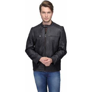 ShopDoze Mens Black Solid Faux Leather Jacket