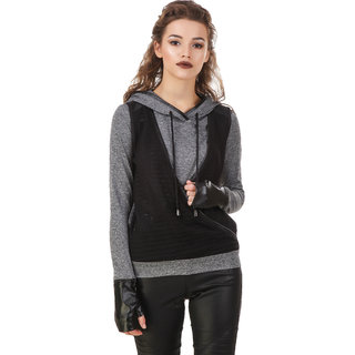 Texco Milange Dark Grey Lace Crossover Hooded With Detachble Gloves Biker Sweatshirt