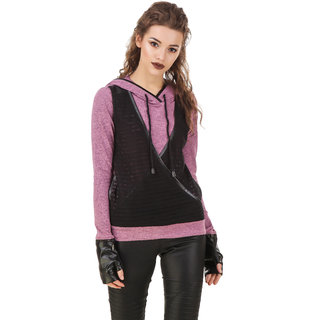 Texco Milange Mauve Lace Crossover Hooded With Detachble Gloves Biker Sweatshirt