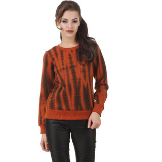 Texco Full Sleeve Rust Tye - Dye WomenS Winter Sweatshirt