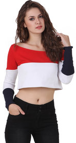 Texco Red Block Print One Shoulder Crop Tops For Women