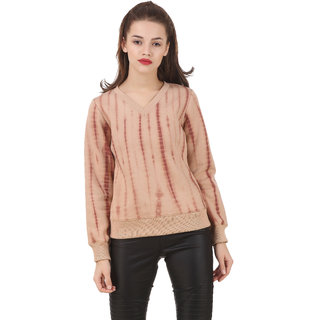Texco Full Sleeve Camel Beige Tye - Dye WomenS Winter Sweatshirt