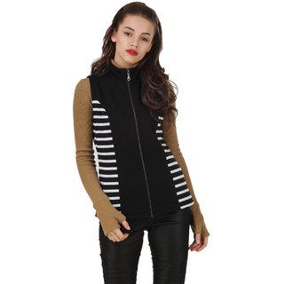 Texco Mock Neck Sleeveless Black & White Striped Panel Winter Jacket