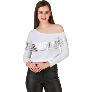 49131b960fe6e8 Texco Winter One Off Shoulder White   Silver Foil Printed Party Crop Top